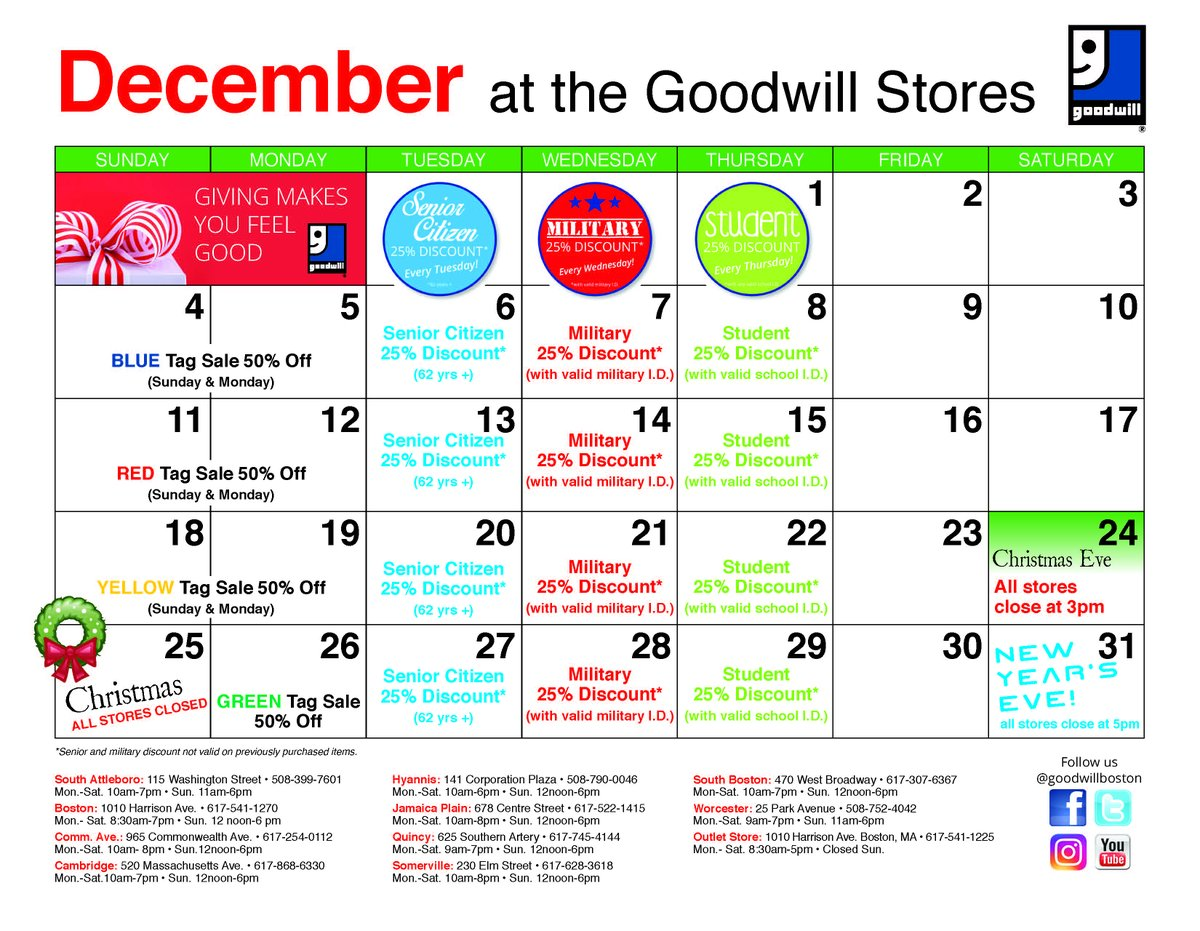 Goodwill Boston On Twitter Check Out Our Store Calendar For