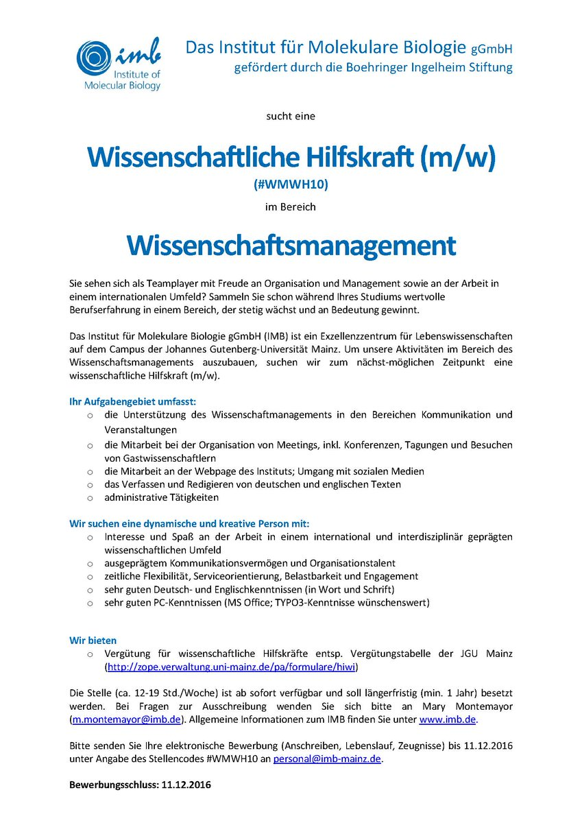imb mainz on twitter imbs scientific management is looking for a student assistant apply now studentjob studentenjob httpstco4maxu3hyzj - Uni Mainz Bewerbung