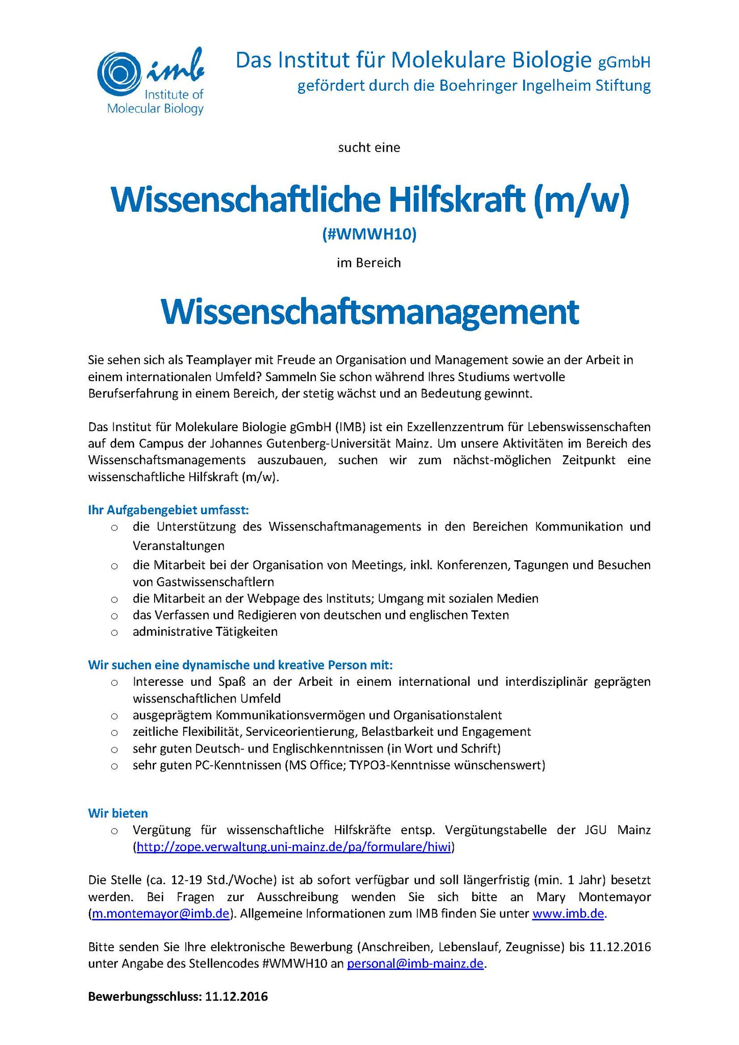 imb mainz on twitter imbs scientific management is looking for a student assistant apply now studentjob - Johannes Gutenberg Lebenslauf