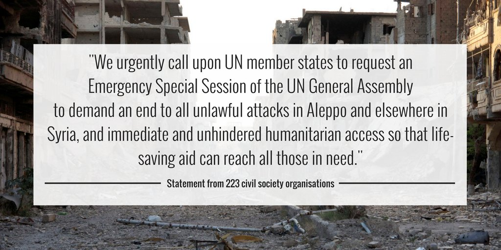 We've joined 223 organisations in calling on UN member states to protect Syrian civilians. bit.ly/2fVXDgQ