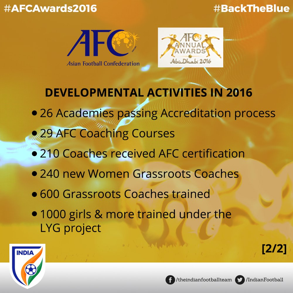 Indian football team on twitter add to that some more activities proud winners of the afc member association developing award for 2016 backtheblue indianfootball httpst1wtpljctgs xflitez Choice Image