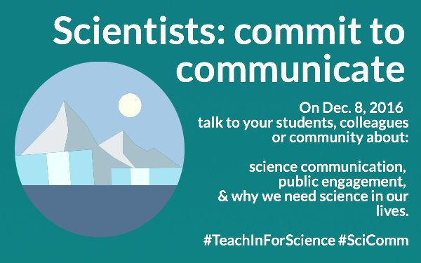 Our #TeachInForScience communication is approaching Join us Dec 8 & talk to students/colleagues about the importance of science! https://t.co/4JvNffhoJ4