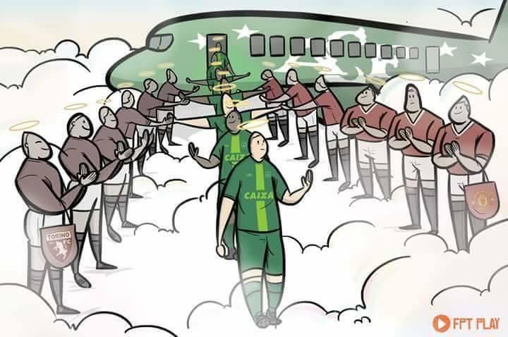 Os grandes Torino de 1949 e Manchester United de 1958 fazendo o 'pasillo' para a Chapecoense. Que imagem!