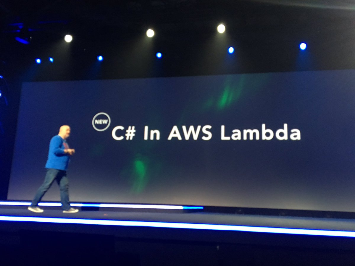 Worst kept secret ever RT @AWSreInvent: Available today, C# in #AWS Lambda #reInvent https://t.co/X9wWMuLodj