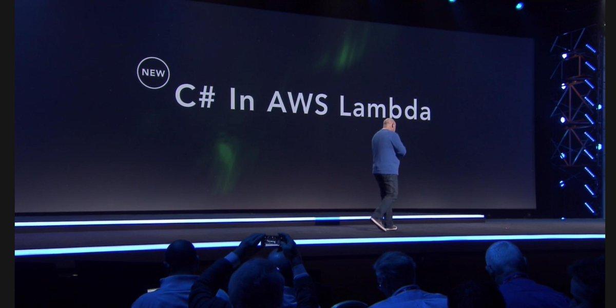 C# in Lambda!!!!  #reinvent https://t.co/yNR0CAWYDD