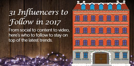 We're Counting Down 31 Influencers to Follow in 2017! Catch Our Daily Reveal of Who's Who. https://t.co/x71vWBBeZ7 #marketocountdown https://t.co/bxIyH5WOpd