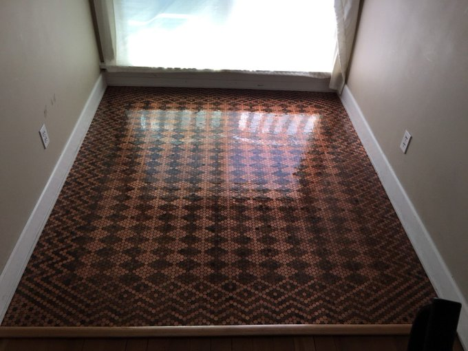 Woman Uses 13,000 Pennies To Create The Most Incredible Tiled Floor
