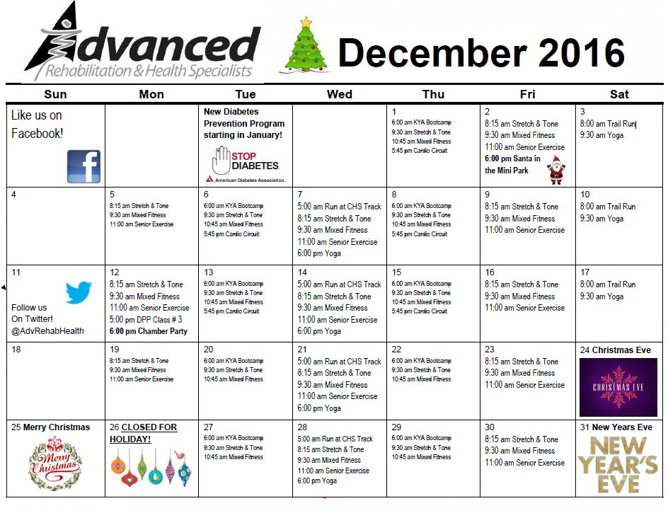 Look for Holiday events! And some classes will be canceled due to the holidays.