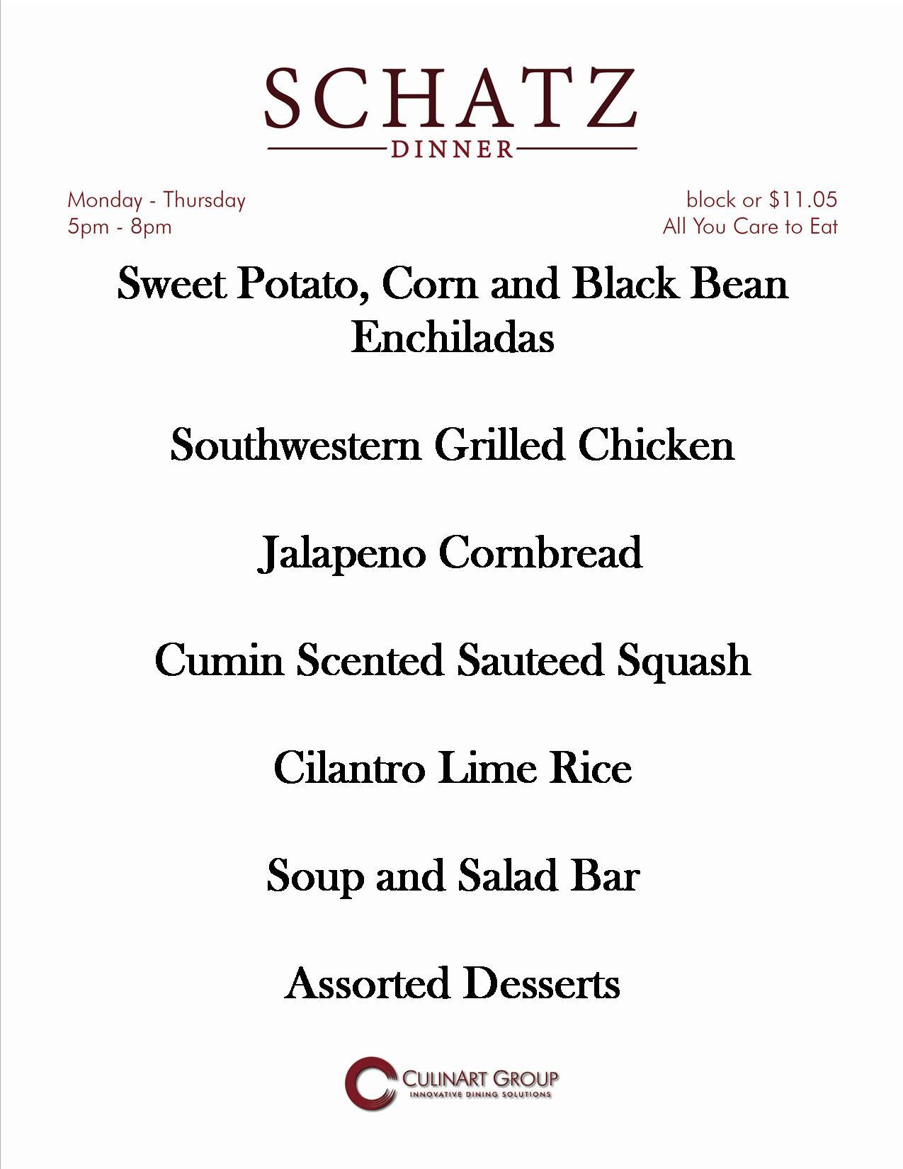 Chartwells At Cmu On Twitter Tonight S Dinner Menu