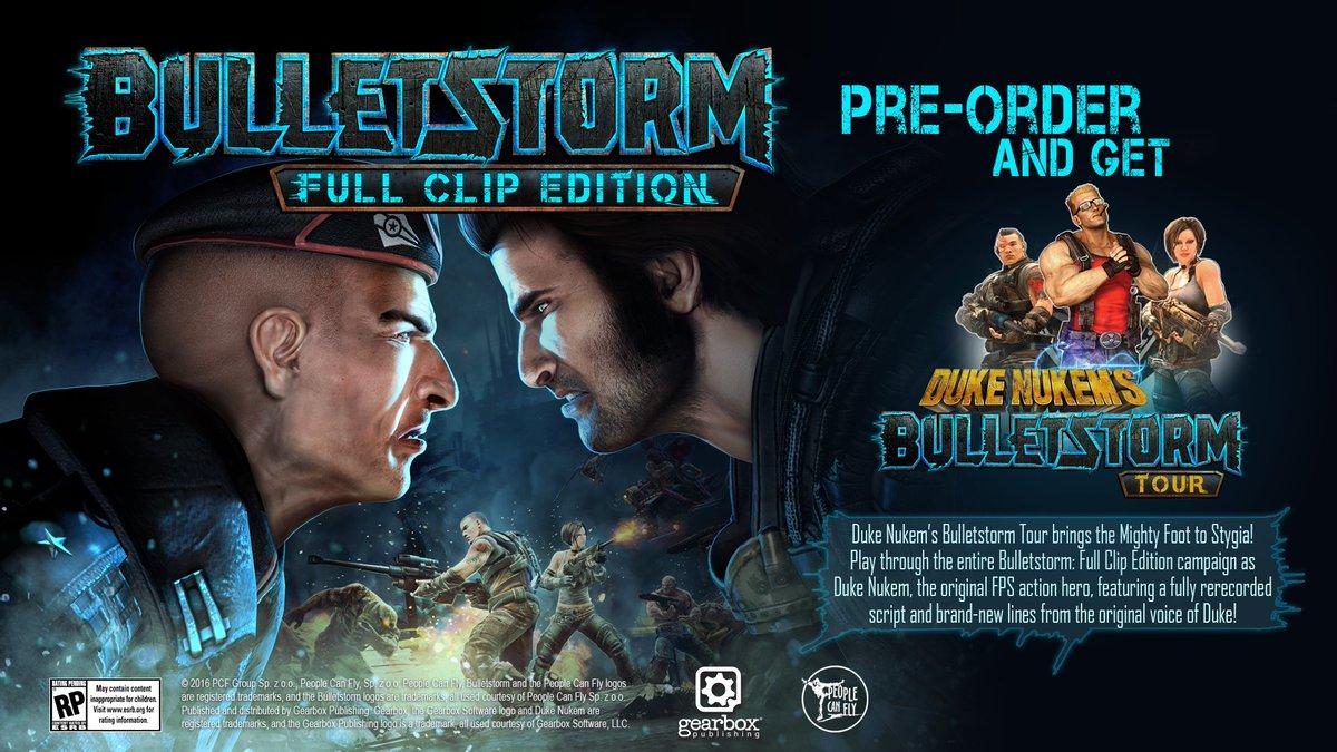 Pre-order Bulletstorm: Full Clip Edition now to unlock Duke Nukem as a playable character! https://t.co/l2UDk3c2aG https://t.co/w5t5Vfpi0e