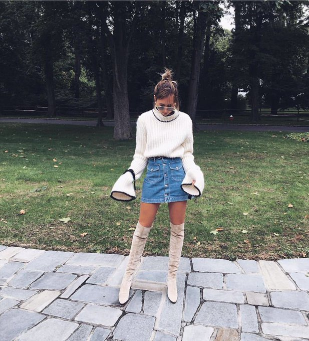 Flare Sleeve High Neck Plus Size Sweater