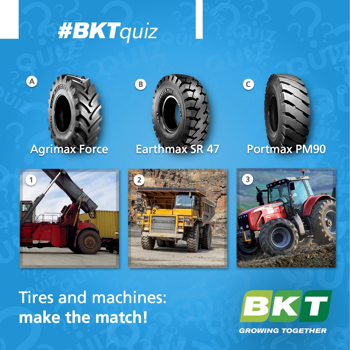 #BKTquiz Can you find out which tire fits each #machine? #tires #quiz https://t.co/QVngB8IAc0