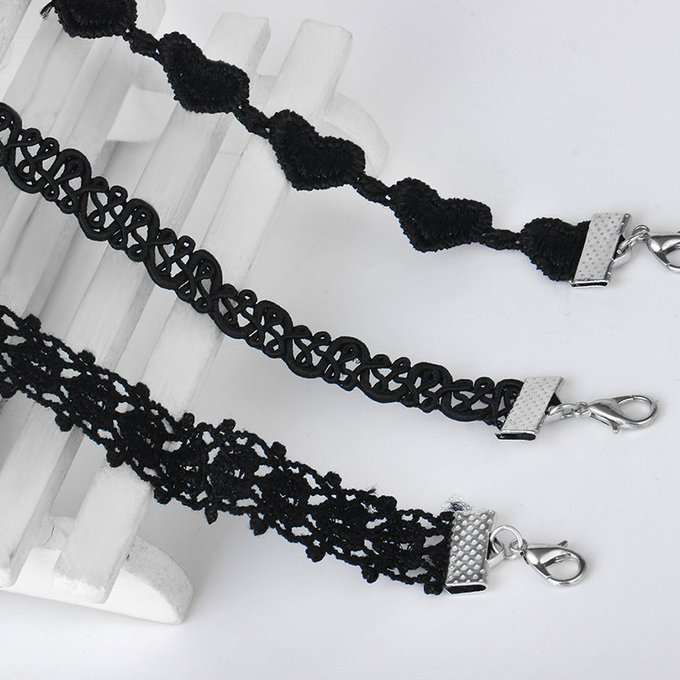 Black Lace Choker Necklaces