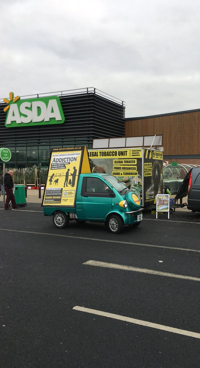 Out today at Asda #gillinghampier talking to the public about the harms of illegal tobacco. Come & visit us! #KIOMedway #cheaptobacco pic.twitter.com/zh4zhEpav9
