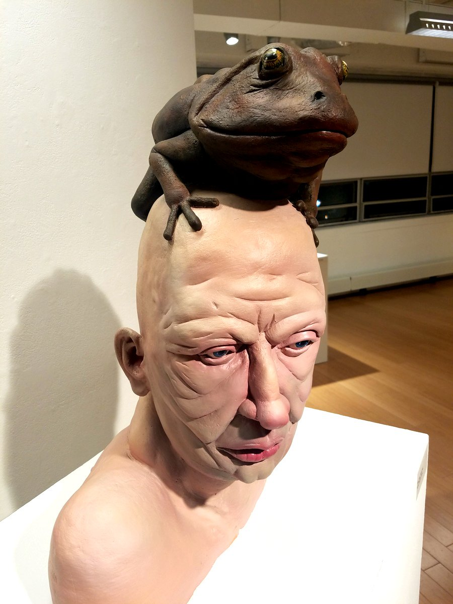 "BioMedia Lab on Twitter: """"Man With Frog"" by Phoebe Scott in the Ceramics Collective exhibition in the Student Life Gallery @MassArt. up now. #TraditionalSlop… https://t.co/K6l7nCBOcV"""
