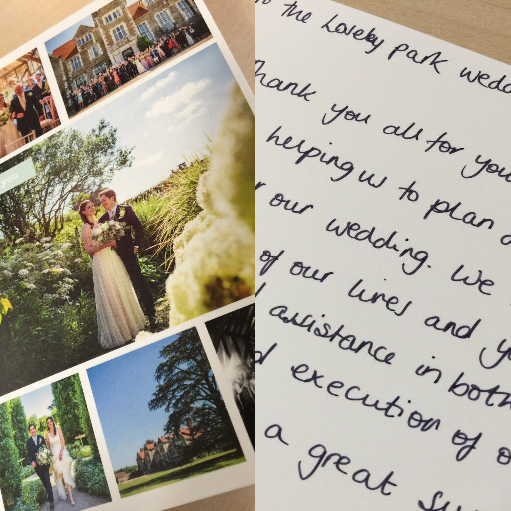 Lovely thank you card just received from a couple who were married here @LoseleyPark @Loseleyevents in the summer