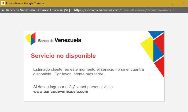 Robmolina elrobertese twitter Banco venezuela clavenet