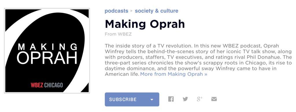 Tip voor iedereen die (net als ik) met de #Oprah Show opgroeide: de #podcast 'Making Oprah'. https://t.co/9yYyKGBPEw