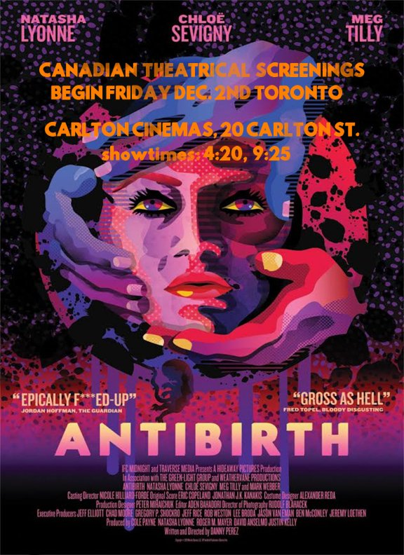 "http://thetfs.ca/2016/12/02/review-antibirth/ …  ""This is one twisted and disturbing movie. Horror fans won't want to miss a single second of it"" - @theTFS #cdnFilm"