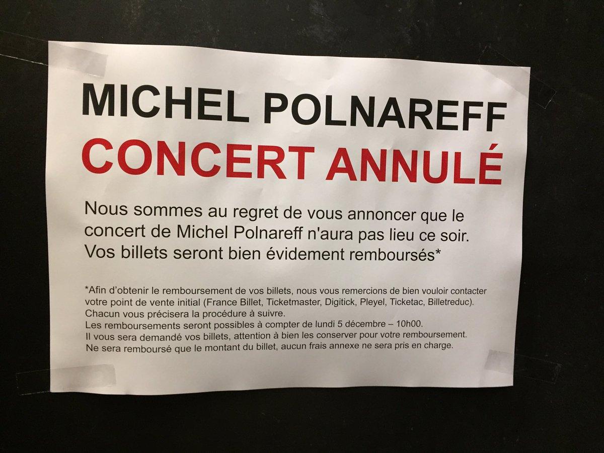 Malheureusement il n'y aura pas de représentation ce soir de  Michel Polnareff à #Pleyel. https://t.co/HL2HzhkX4p