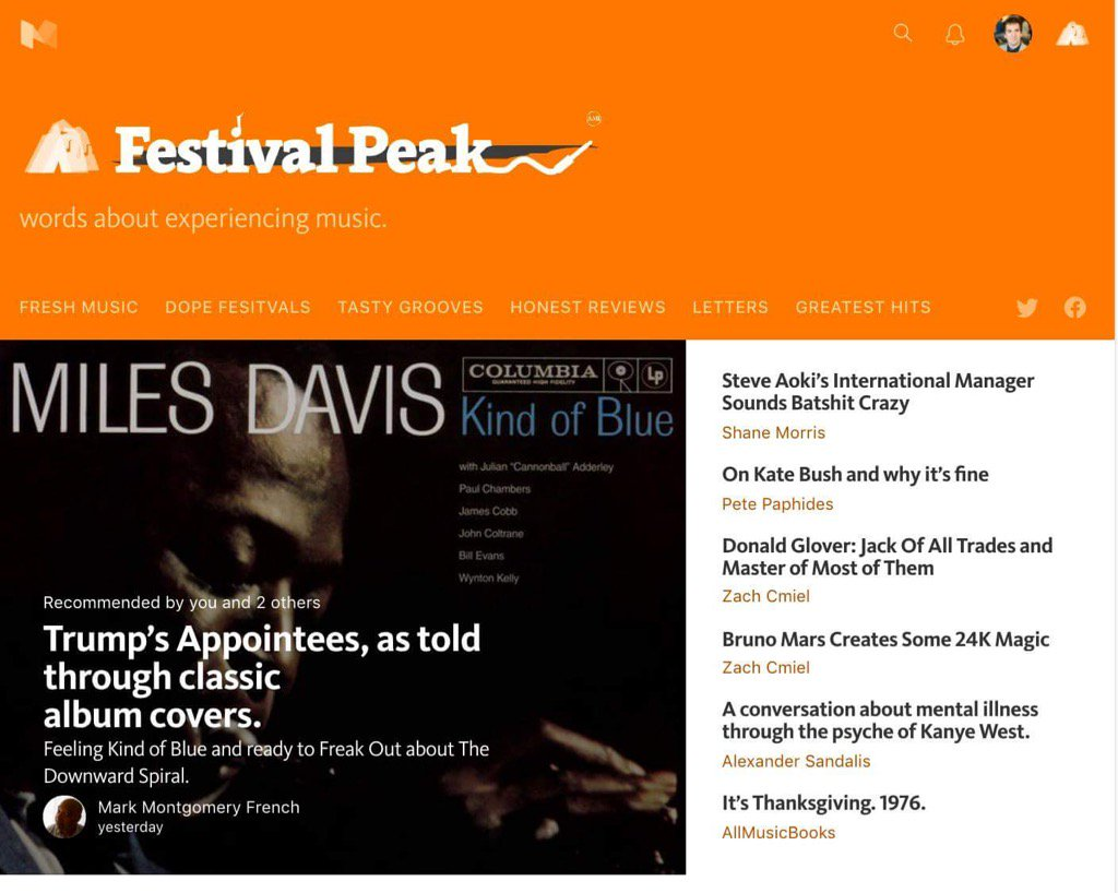 0343e5e4c4f64d That article I wrote yesterday is now on the front page of Medium's music  site, Festival Peak!pic.twitter.com/4B9h3PltJk