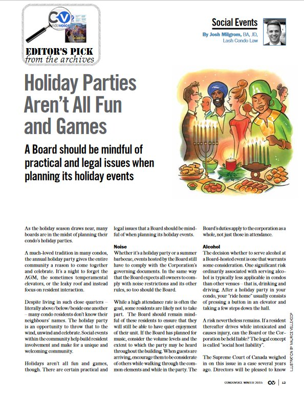 #CVEditorPick  Faves from our archive...  @JoshMilgrom on how holiday parties aren't all fun & games  https://t.co/0WltbKCvyH  #Condovoice https://t.co/sZerxoRJVz