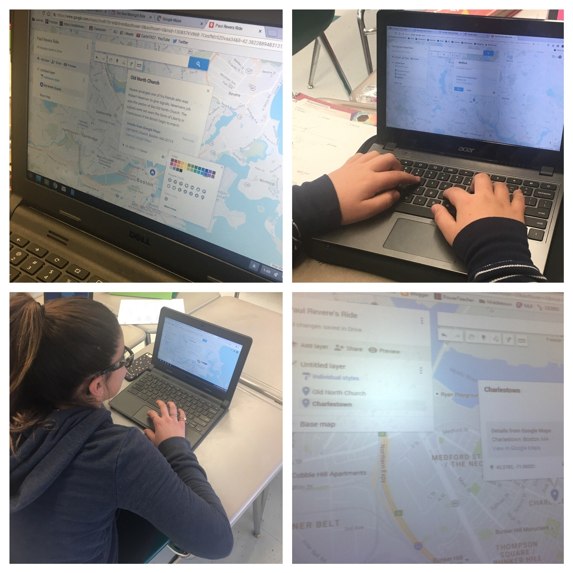 7th graders making descriptive Google Maps of the midnight ride routes of Paul Revere, William Dawes and Samuel Prescott! #MTPSPride https://t.co/i1EBrx7McJ
