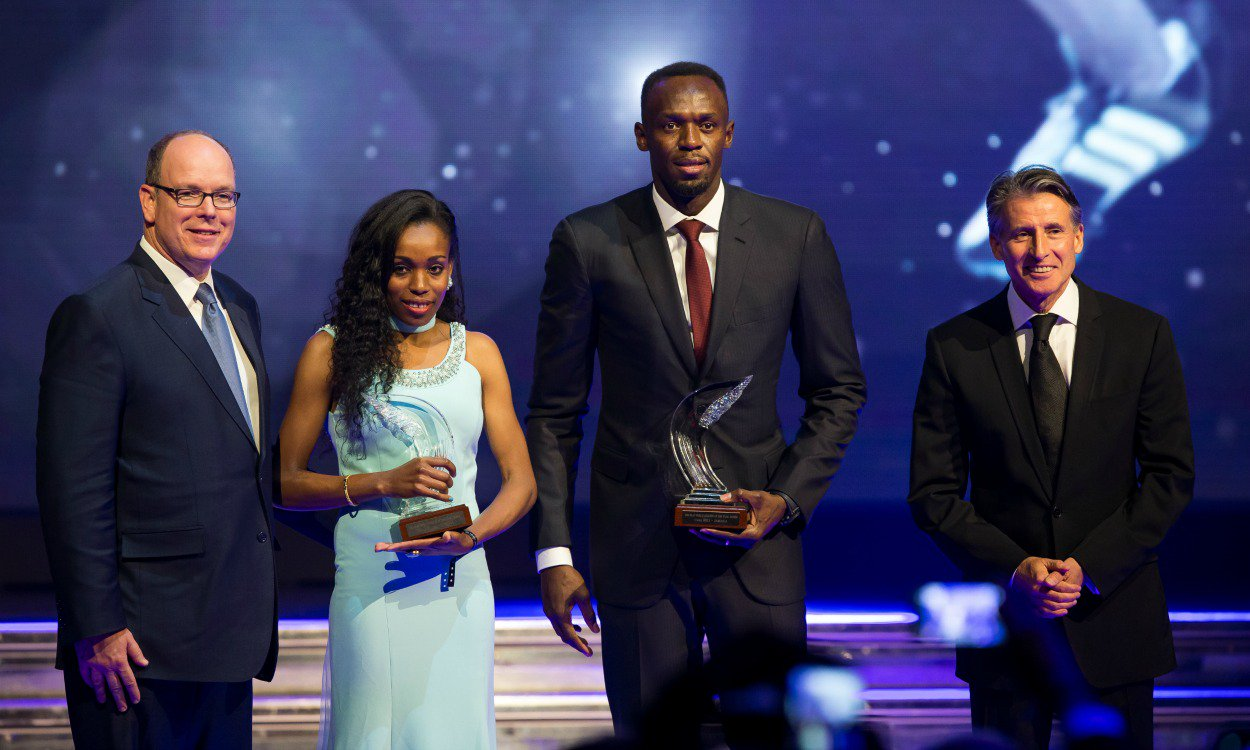Usain Bolt and Almaz Ayana receive their #IAAF World Athlete of the Year awards in Monaco