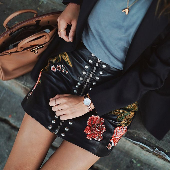 Embroidered Leather Skirt For the Office