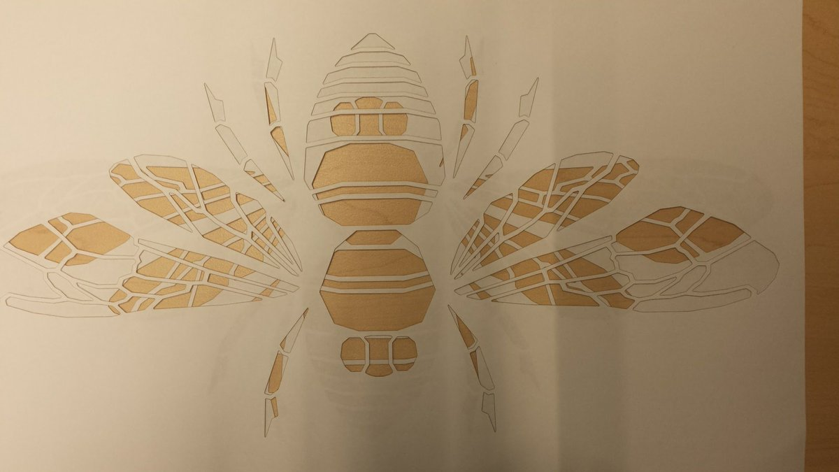 Can't stop sharing senior Laura's laser cut bee drawings. https://t.co/Fz13FQ0yi7