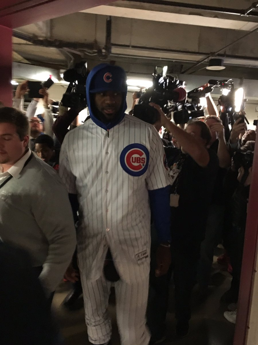 Bet has been paid. Full Cubs uniform for LeBron, who was greeted by D Wade as he entered the UC.