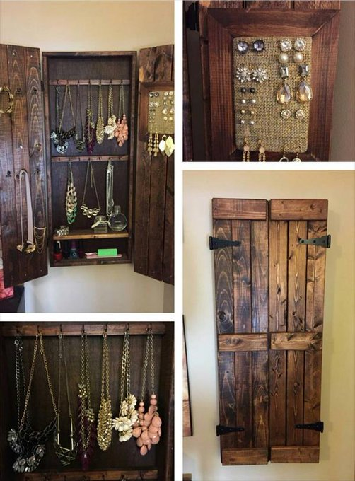 wooden pallet jewelry cabinet