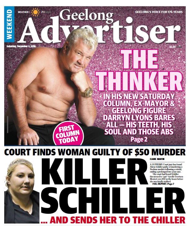 Liamhoulihan On Twitter Weekend Addy Page 1 Darryn Lyons Debut Column Killer Schiller Sent To Chiller Geelongaddy