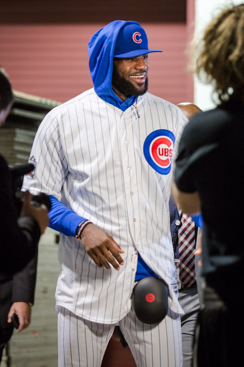 And there it is, LeBron James in full Cubs uniform before game w/Bulls from our Santiago Covarrubias