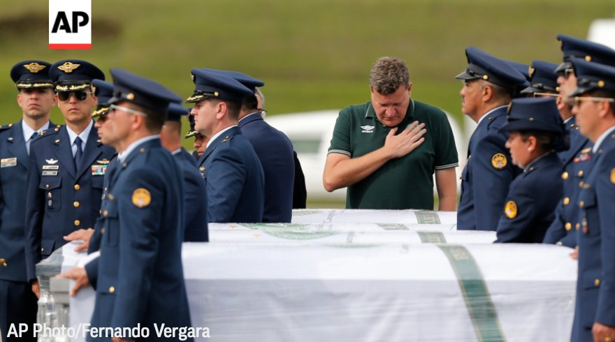 Remains of #Brazilians who died in #ColombiaPlaneCrash are beginning their journey home to #Chapeco.