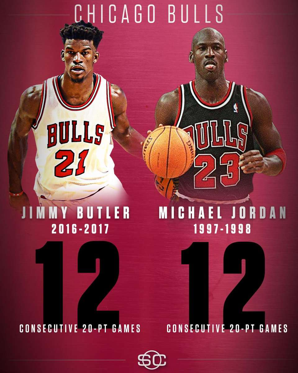 bf3c60fbaf74be jimmy butler drops 20 pts for the 12th straight game tying michael jordan  for most such