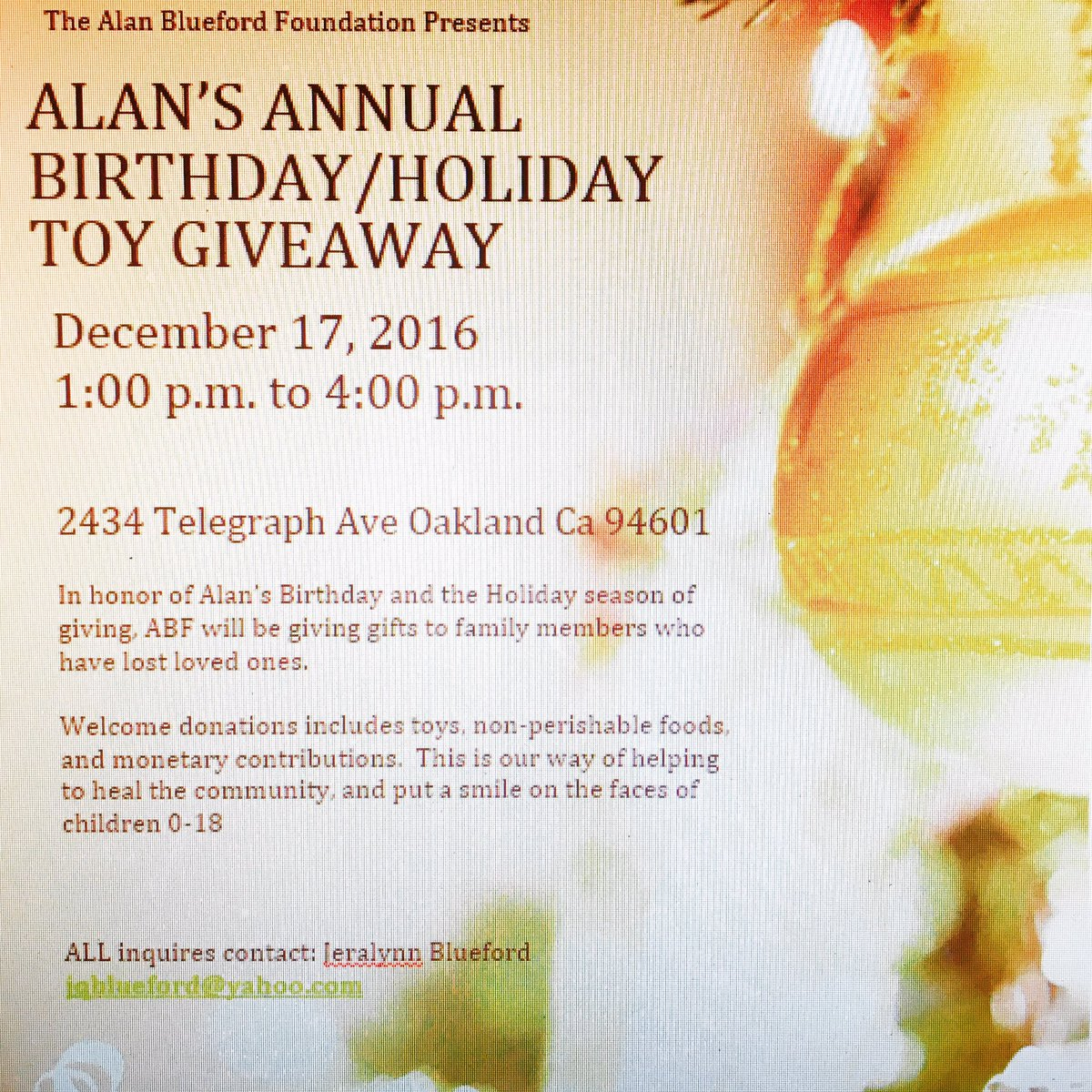 Alan Blueford Annual Birthday/Holiday Toy Giveaway @ Alan Blueford Center for Justice | Oakland | California | United States