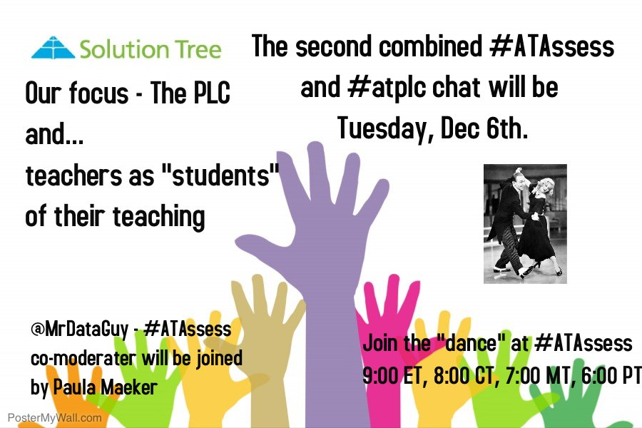 Assessment and the PLC - Join us Tuesday at #ATAssess We are joined by @PaulaMaeker  #atplc Questions at https://t.co/EocXgaSZJ5 #satchat https://t.co/EvOZltXJap