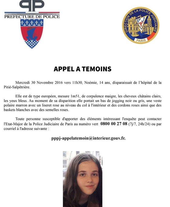 Appel à témoin après la disparition d'une jeune fille de 14 ans à Paris