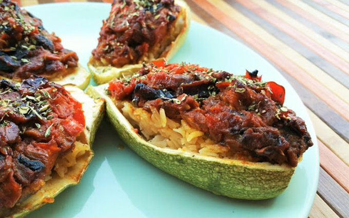 Stuffed Zucchini With Rice and Chunky Vegetable Sauce [Vegan, Gluten-Free]