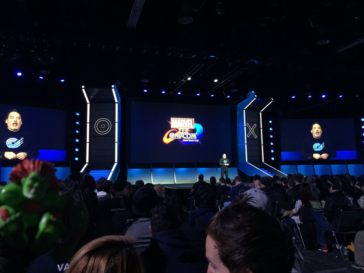 We had announce about @Marvel vs CAPCOM Infinite at @PlayStation Experience now!! Thanks for waiting! ;P https://t.co/7rwLmksBhQ