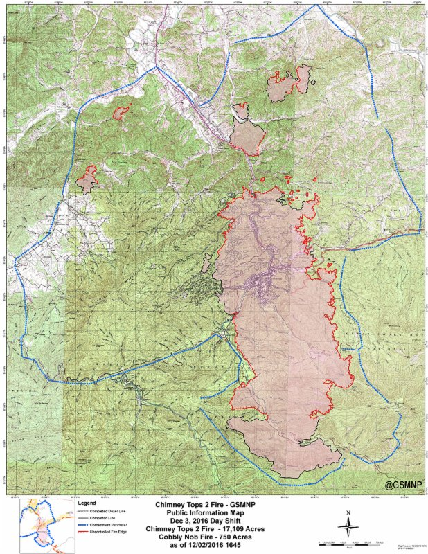 Crews still battling wildfires in #GSMNP. More than 17,109 acres impacted with only 25% containment as of now https://t.co/l0Y8Jtp9hc