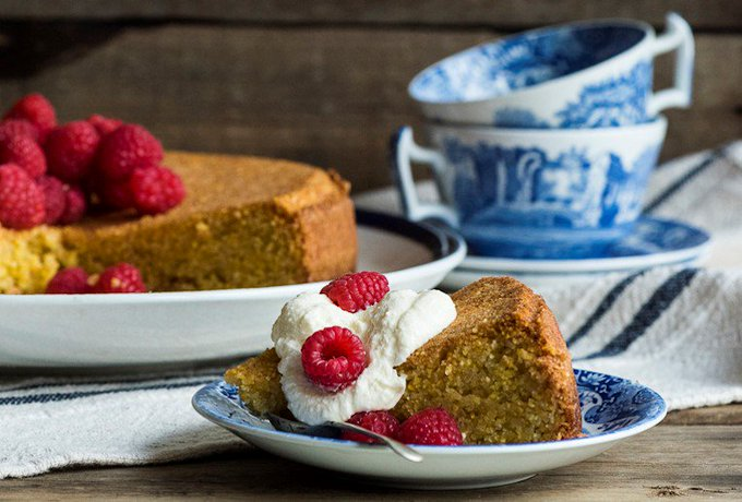 Olive Oil Polenta Cake with Raspberries