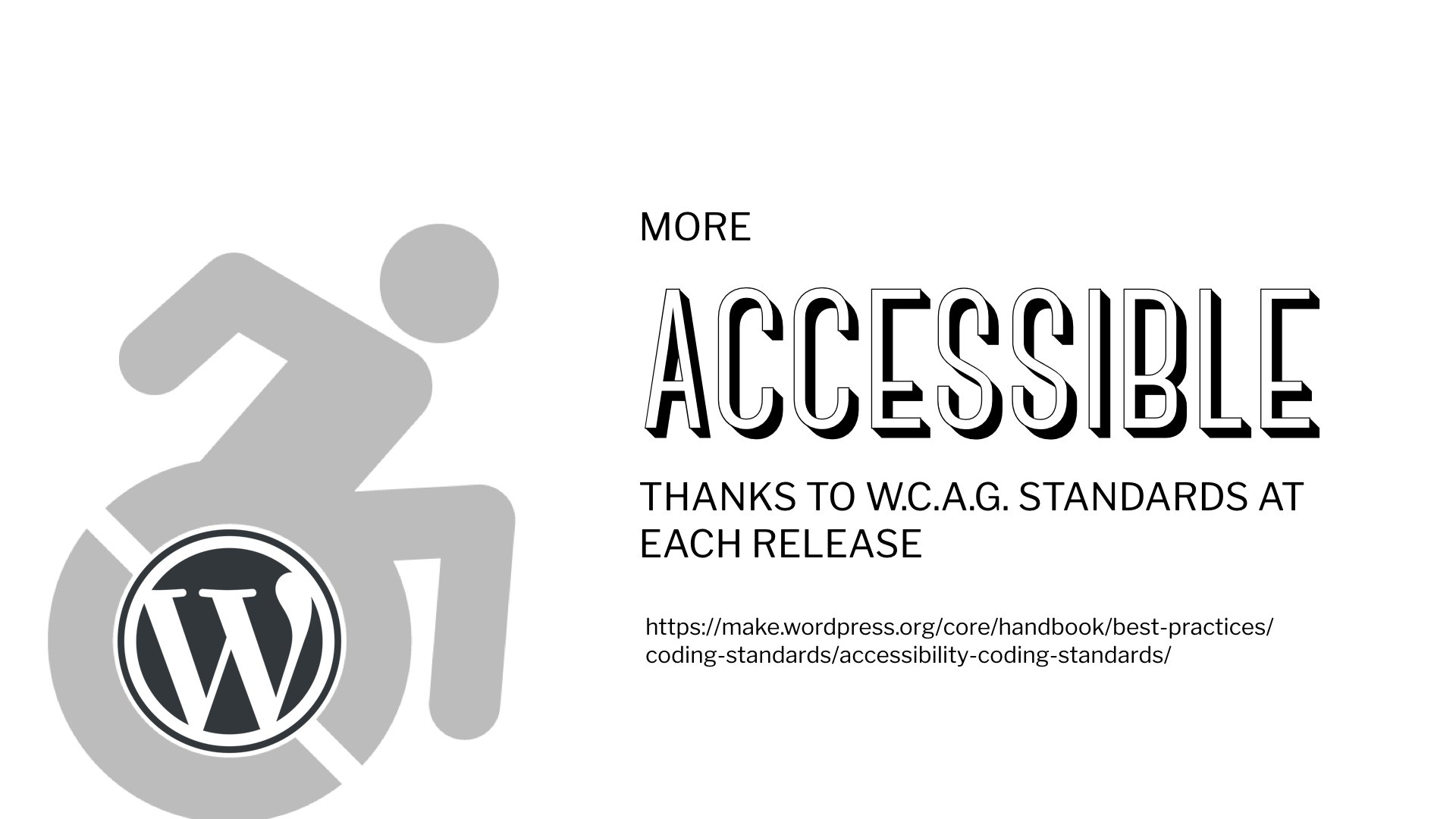 Using WCAG standards for each release means WordPress is more accessible than ever. #wcus https://t.co/HU486fvAKH