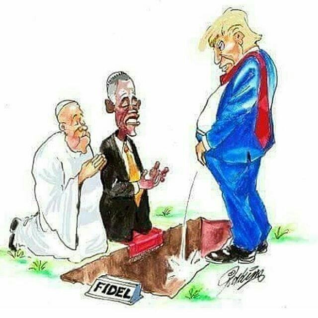 Resultado de imagem para cartoon trump urinate in fidel