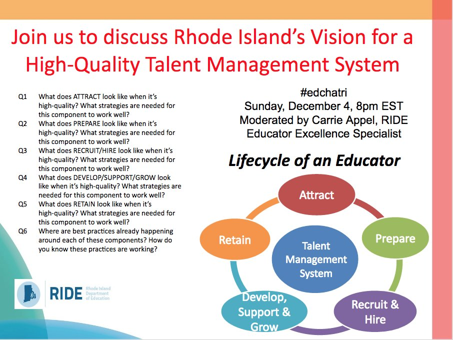 Join #edchatri in 10 minutes to discuss RI's Vision for a High-Quality Talent Management System. https://t.co/JhLZzqCCSC https://t.co/BwIoU6tZDO