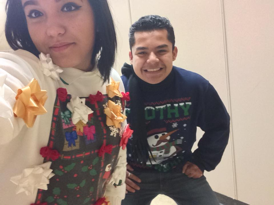 #nationaluglysweaterday Besties rockin these ugly things https://t.co/...
