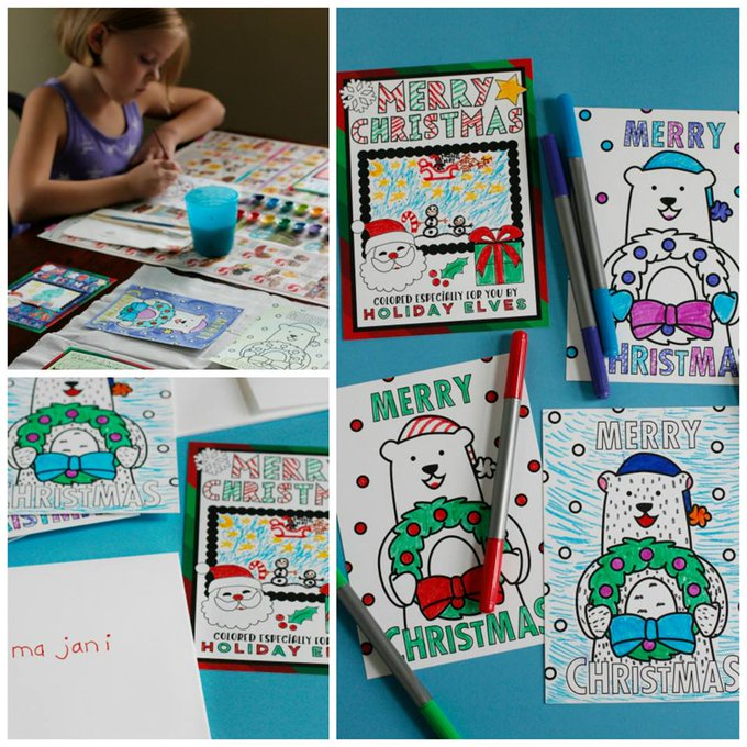 Kid-Friendly Color-In Holiday Cards