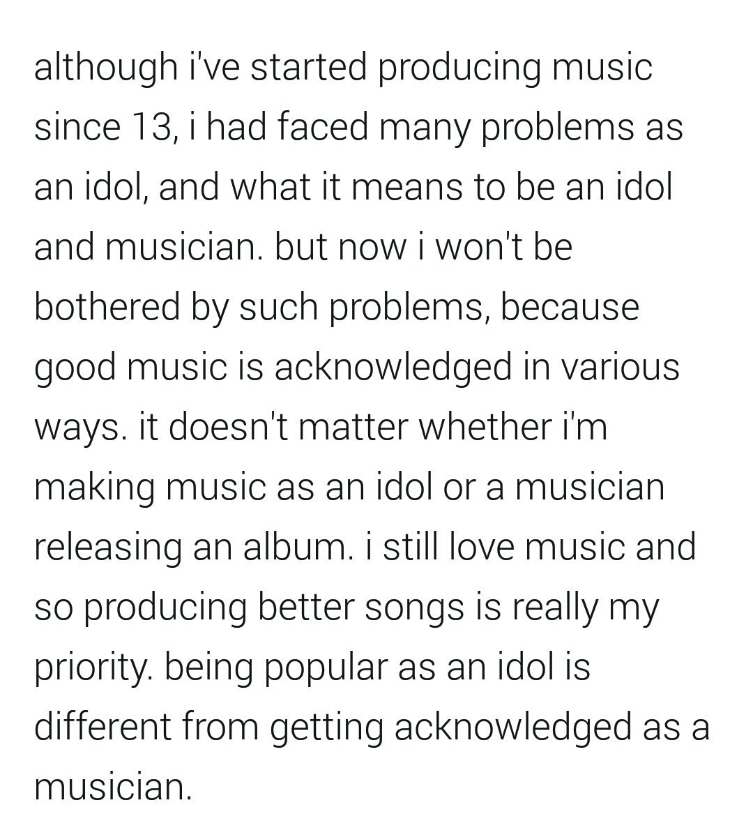 acknowledgement about music