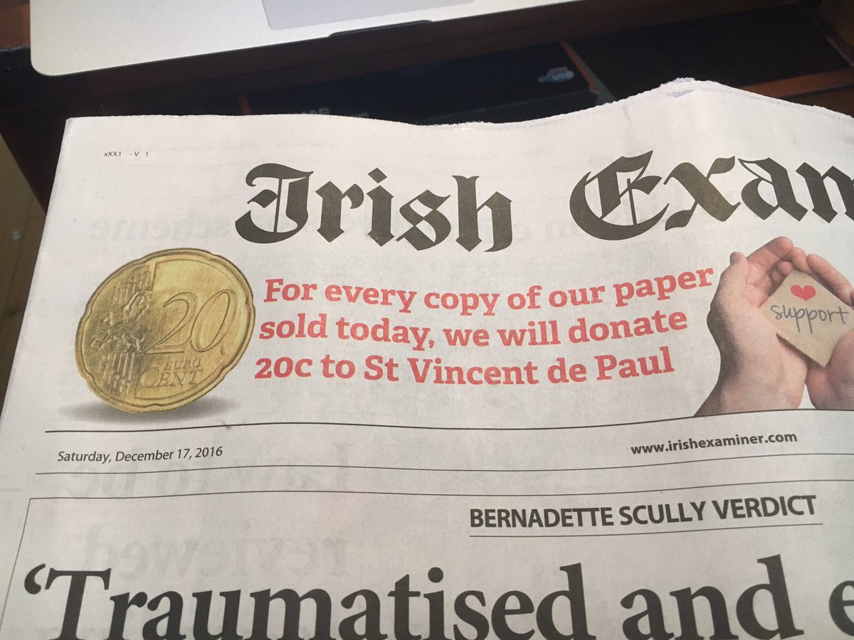 Nice touch by @irishexaminer with 20 cent from the sale of every paper today going to @SVP_Ireland https://t.co/akaLkhrcT3